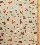 Woodland Fabric UK 80% Cotton 20% Poly material upholstered feel fox owl hedgehog - Price Per Metre